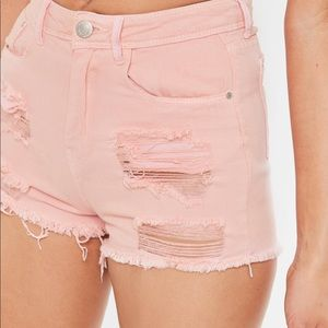 H&M Pink Ripped Jean Shorts Size 0
